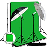 LimoStudio Photo Video Studio Umbrella Light Lighting Kit 700W, 10 x 12 ft. Studio Green chromakey / Black / White Photo Backdrops Backgrounds Support kit, AGG706V2