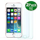 iPhone SE Screen Protector,TechRise 2-Pack iPhone SE 5 5S 5C Xtreme Scratch Terminator Ultra-Clear Premium Tempered Glass Screen Protector Film with 9H Hardness and Easy Bubble-Free Installation