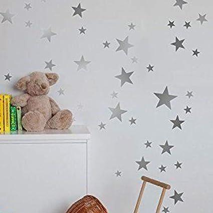 Imagen deEstrellas Pared Etiqueta, 55pcs/Set Ventana de Vidrio Twinkle Star Sticker, Vinilo Metálico PVC Art Star Patrón de Calcomanías, para Bebés Niños Dormitorio Decoración de la Guardería