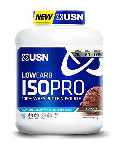 USN Low Carb ISO Pro 100 Percent Whey Protein Isolate, 4 Pounds, Chocolate ()