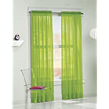No. 918 Calypso Sheer Voile Rod Pocket Curtain Panel, 59 x 63 Inch, Lime Green