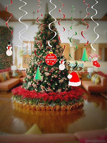42 Pieces Christmas Hanging Swirl Decorations Ceiling Hang Foil Cards Supplies Snowman Santa Hat Tree for Xmas Holiday Party Winter Wonderland Kids Gift Garden Home Yard Inddor Outdoor Decor