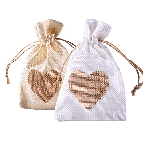 YUKUNTANG Burlap Bags, 20 Packs 4 x 6 Inch Heart Drawstring Pouch Candy Gift Linen Pockets for Wedding Party Birthday Christmas Thanksgiving Halloween]()