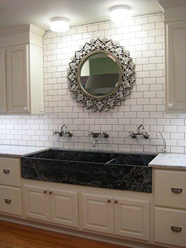 White 3x6 Subway Tile Backsplash, Kitchen, Walls, Countertop, Bathroom, Herringbone, Ceramic Tile (Sample)