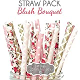 Designer Durable Disposable Drinking Paper Straws (25) Blush Bouquet