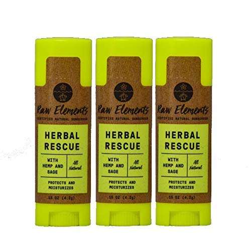 Raw Elements Herbal Rescue Lip Balm   100% Organic, Protects and Moisturizes Lips With Hemp, Sage & Eucalyptus, Non-GMO, Cruelty Free, All Ages Safe, 0.15oz (3-Pack)