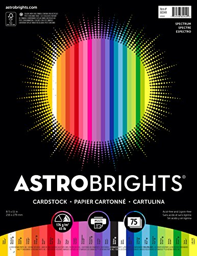 "Astrobrights Colored Cardstock, 8.5"" x 11"", 65 lb/176 gsm, 'Spectrum' 25-Color Assortment, 75 Sheets (80944-01)"