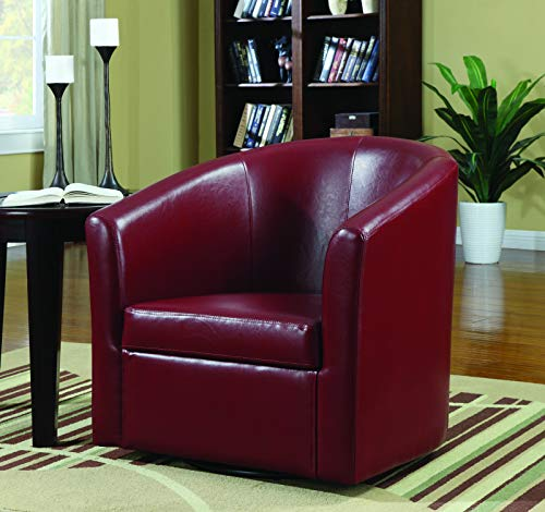 Accent Swivel Chair Red (Leather English Chair Club)