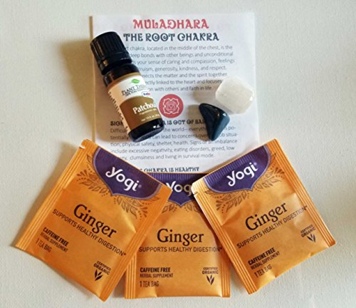 Root Chakra (Muladhara) Alignment Set - Balance/Healing of 1st Chakra, Patchouli Oil, Bloodstone, Ginger Tea …