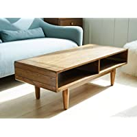 Haven Home Zane Mid-Century Coffee Table - Walnut - Rectangular Sofa Table - Wood Table