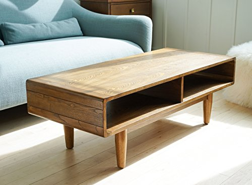 Hives and Honey 6006-495 Hives & Honey Haven Home Dexter Mid-Century Deco Walnut Coffee Table, - Inspired by the clean lines and simple silhouettes commonly found in mid-century design. Solid wood construction with a rich walnut finish. Open storage concept - living-room-furniture, living-room, coffee-tables - 51KLbzWOsNL -