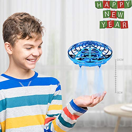 BOMPOW Drones for Kids Adults Mini Drones Hand Sensor Flying Ball Toys with 2 Speed and LED Light for Kids, Boys and Girls Gift (Blue) -