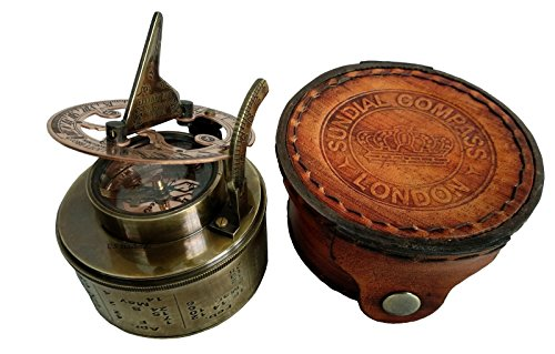 Vintage Compass NAVIGATIONAL Instrument - Marine Sundial Compass with Leather Case & Calendar....