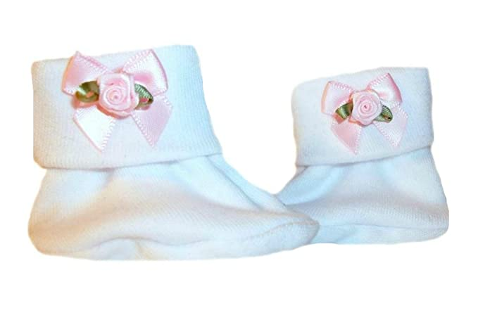 Amazon.com  Jacqui s Baby Girls  White Baby Booties with Pink Rose ... e7010d1209a8
