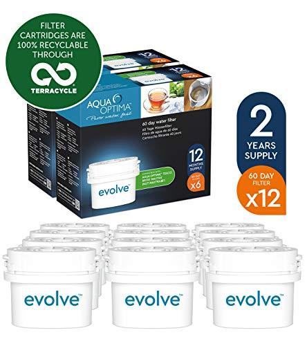 Aqua Optima EVD912 Evolve - Paquete de 2 anos, filtros de agua de 12 x 60 dias, fit BRITA Maxtra (no * Maxtra +). surtido: embalajes aleatorios