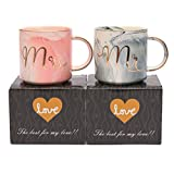 Coffee Mug 13oz Ceramic Set of 2 by Garrede, Mr and Mrs Marble Design Style Couples Coffee Mug, Gift For Bride and Groom, Anniversary Present Husband and Wife (Grey and Pink)