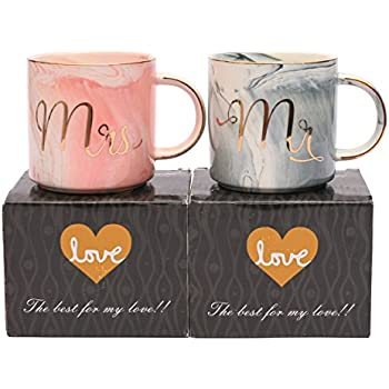 Luspan Mr and Mrs Ceramic Coffee Mugs Set of 2, Couples Coffee Mugs 13oz with Gold & Marble Design, Gift for Bride and Groom, Anniversary Present for Husband and Wife (Grey and Pink)