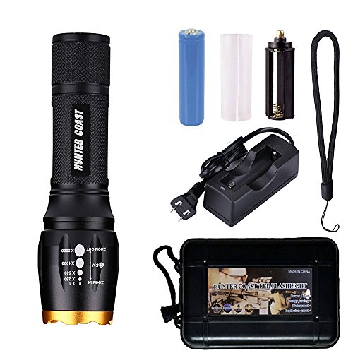HUNTER COAST Handheld Led Flashlight, 1000 Lumens Waterproof Zoomable Bright Cree Xml T6 Tactical Torch flashlights