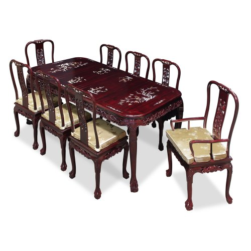 China Furniture Online Rosewood Dining Table, Hand Crafted 80 Inches Queen Ann Grape Motif Dining Set with 8 Chairs Dark Cherry Finish