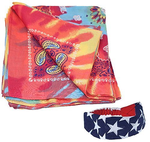 Bandanas Cotton 12 Pack With a American Flag Bandana Headband By CoverYourHair (12 Tie Dye Paisley Bandanas, Patriotic Headband)