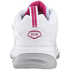 New Balance Women's WX608v4 Training Shoe, White/Pink, 8 B US