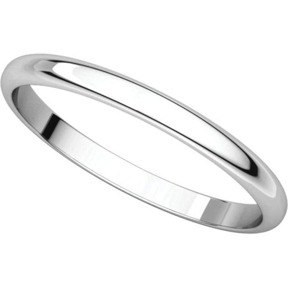 Bonyak Jewelry 14k White Gold 2 mm Half Round Lightweight Band