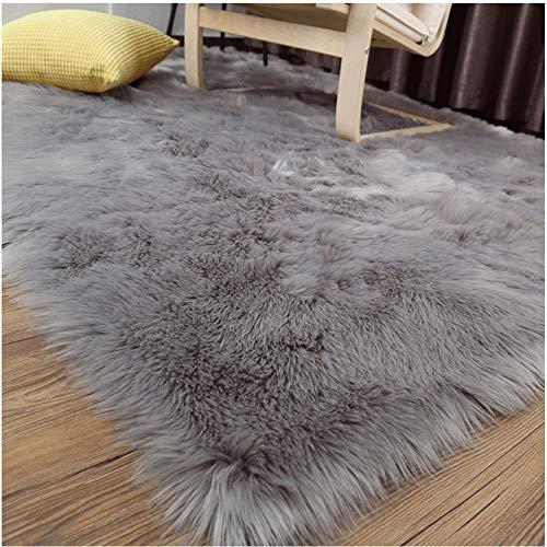 LOCHAS Soft Faux Sheepskin Fluffy Rugs for Bedroom Kids Room, High Pile Faux Fur Area Rug Bedside Floor Carpet Photography, 3x5 Feet Rectangular Grey (Fuzzy Rug Grey)