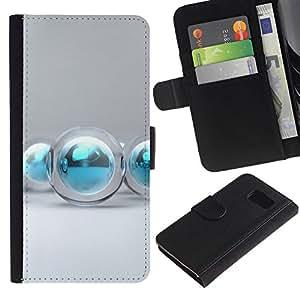 All Phone Most Case / Oferta Especial Cáscara Funda de cuero Monedero Cubierta de proteccion Caso / Wallet Case for Samsung Galaxy S6 // agua aqua invierno decoración de Navidad