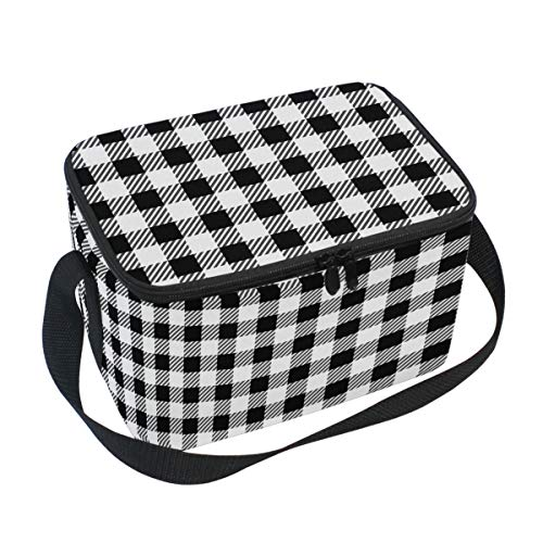 WIHVE Lunch Bag Tote Bag Black And White Gingham Buffalo Plaid Insulated Lunch Box ()