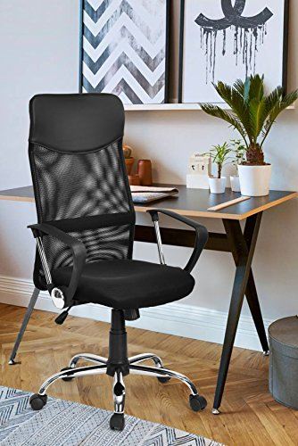 Black Office Executive Task Chair Mesh High Back Tilting Function Adjustable Swivel Home Computer Desk Chair