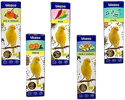biozoo - Pack Surtido de barritas para Canarios 5 Unidades (Muda, Naranja, Canto, Miel & Semillas, Fruta & Cereales)