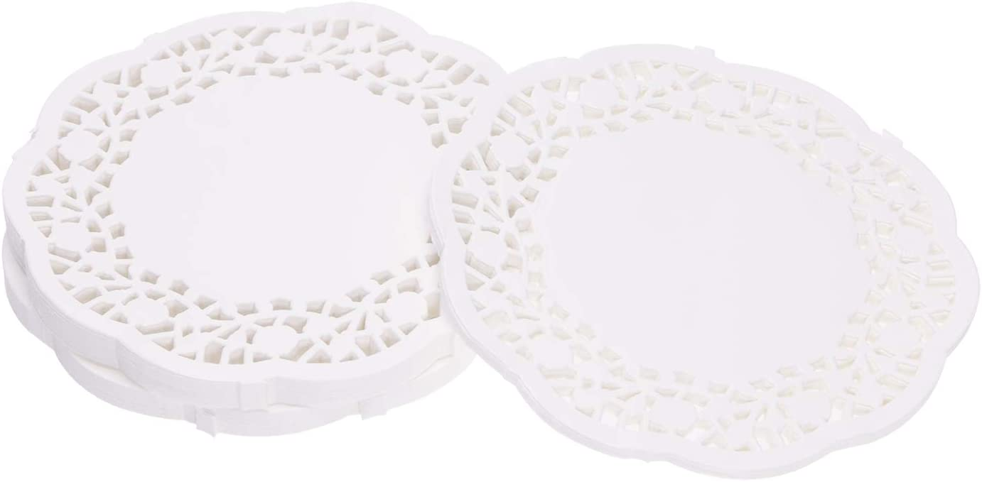 Tupalizy 4.5 Inch Round Lace Paper Doilies Small Decorative Cake Packaging Pads Mats Disposable Dessert Bakery Paper Placemats Bulk for Wedding Party, Dining Table Tableware Decoration, White, 250PCS