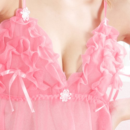 Mlaemq New Lace Sexy Lingerie Babydoll+T-back Color Pink One Size