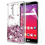lg 2 cases - LG Stylo 2 V/Stylo 2/ Stylo 2 Plus/Stylus 2 Case Tempered Glass Screen Protector [2 Pack],LeYi Glitter Shiny Cute Girls Women Liquid Clear TPU Protective Case LG LS775 ZX Rose Gold
