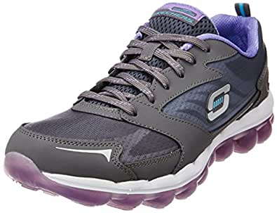 Skechers Sport Women's Skech Air Cross Trainer Sneaker,Charcoal/Purple,5 M US