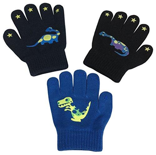 Magic Childrens Gloves (N'Ice Caps Boys Magic Stretch Gloves 3 Pair Pack Assortment (3-5 Years, Dino - Yellow/Royal/Black))