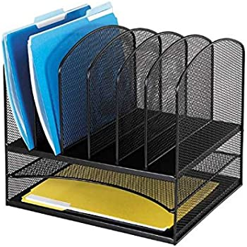 Safco Products 3255BL Onyx Mesh Desktop Organizer with 6 Vertical/ 2 Horizontal Sections, Black