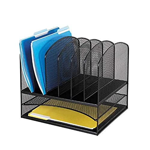 Safco Products 3255BL Onyx Mesh Desktop Organizer With 6 Vertical/2  Horizontal Sections, Black