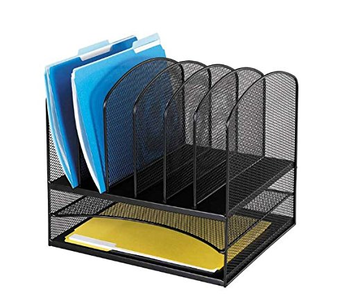 Safco Products 3255BL Onyx Mesh Desktop Organizer with 6 Vertical/ 2 Horizontal Sections, Black - Six Horizontal Sections