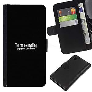 KLONGSHOP // Tirón de la caja Cartera de cuero con ranuras para tarjetas - TU PUEDES HACER CUALQUIER COSA - Sony Xperia Z1 L39 //