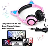 JankoPalise Cat Ear Headphone, Foldable Flashing Glowing Gaming Cat Headset Earphone With LED light For PC Laptop Computer Mobile Phone (pink)