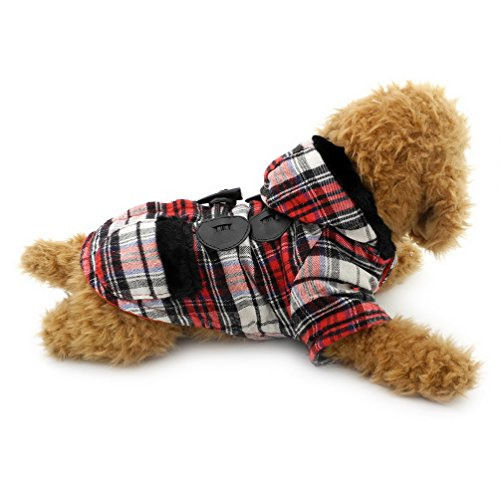 SELMAI Dog Duffle Coat Puppy Pet Hoodies Winter Clothes for Small Dogs Red L by SELMAI
