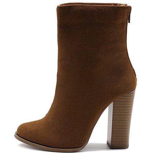 - Ollio Women's Shoe Faux Suede Back Zip Up Stacked High Heel Ankle Boots SSB05(7 B(M) US, Tan)