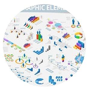 alfombrilla de ratón Conjunto de elementos de diseño de infografías isométricos - ronda - 20cm