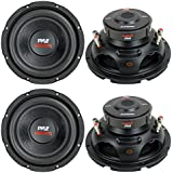 4) New PYLE PLPW8D 8 1600W Car Audio Subwoofers Subs Woofers Stereo DVC 4-Ohm