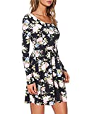 MOOSUNGEEK Womens Long Sleeve Floral Print Pleated Swing Dress(Runs Large)