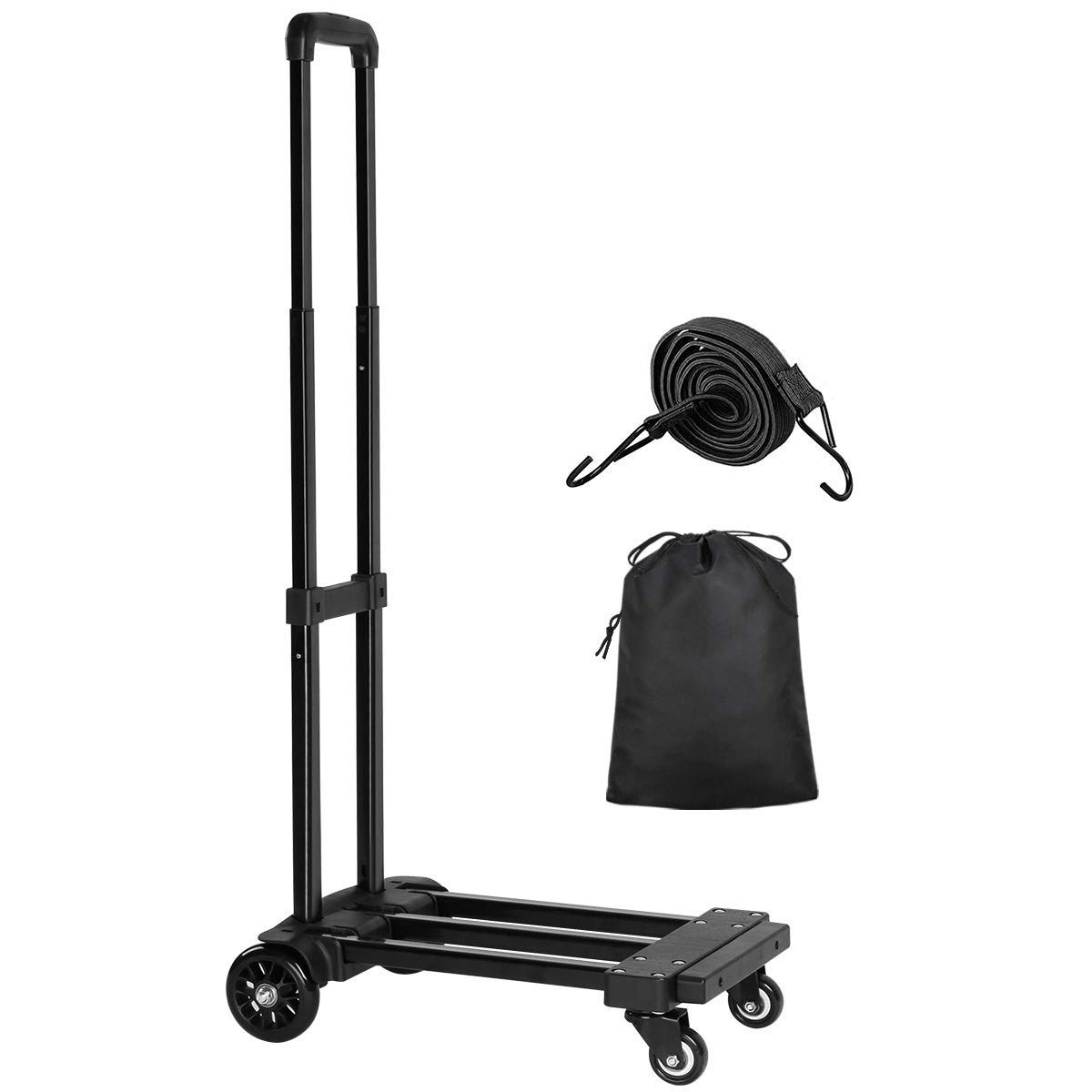 Folding Hand Truck, 155 lbs Heavy Duty Luggage Cart, 4 Wheels Solid Construction, Portable Fold Up Dolly by Orange Tech, Compact and Lightweight for Luggage, Personal, Travel, Moving and Office Use by Orange Tech