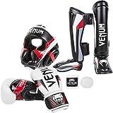 Venum Elite Standup Bundle, White Gloves, Black Shinguards, Black Headgear, White Handwraps, 14-Ounce Gloves, Large Shinguards