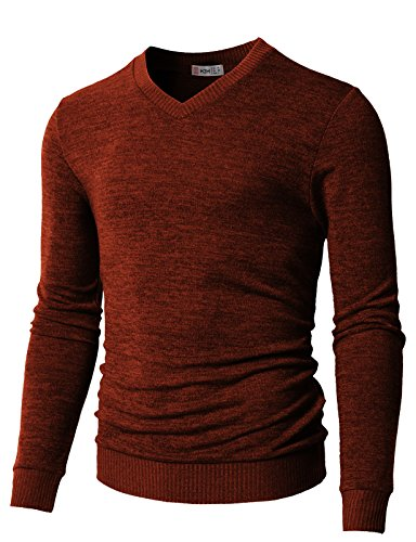 - H2H Men's Classic Solid V-Neck Sweater Orange US M/Asia L (CMOSWL018)