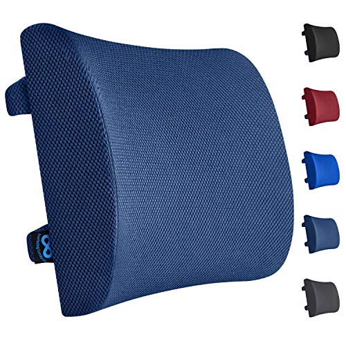 Everlasting Comfort Lumbar Support for Office Chair - 100% Pure Memory Foam Lumbar Pillow for Car (Navy Blue) (Navy Blue Cushions)